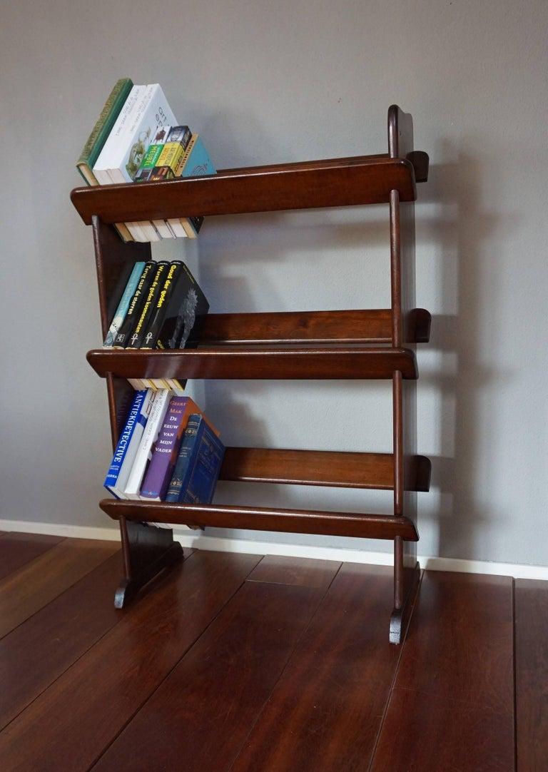 Antique And Rare Mahogany Color Three Tier Small Bookcase Or Book Trough For Sale 3