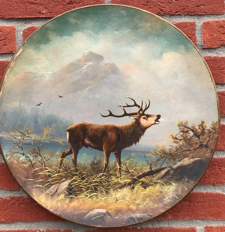 German Antique Pair of Hand-Painted Earthenware Wall Plates Landscape with Deer / Stag For Sale