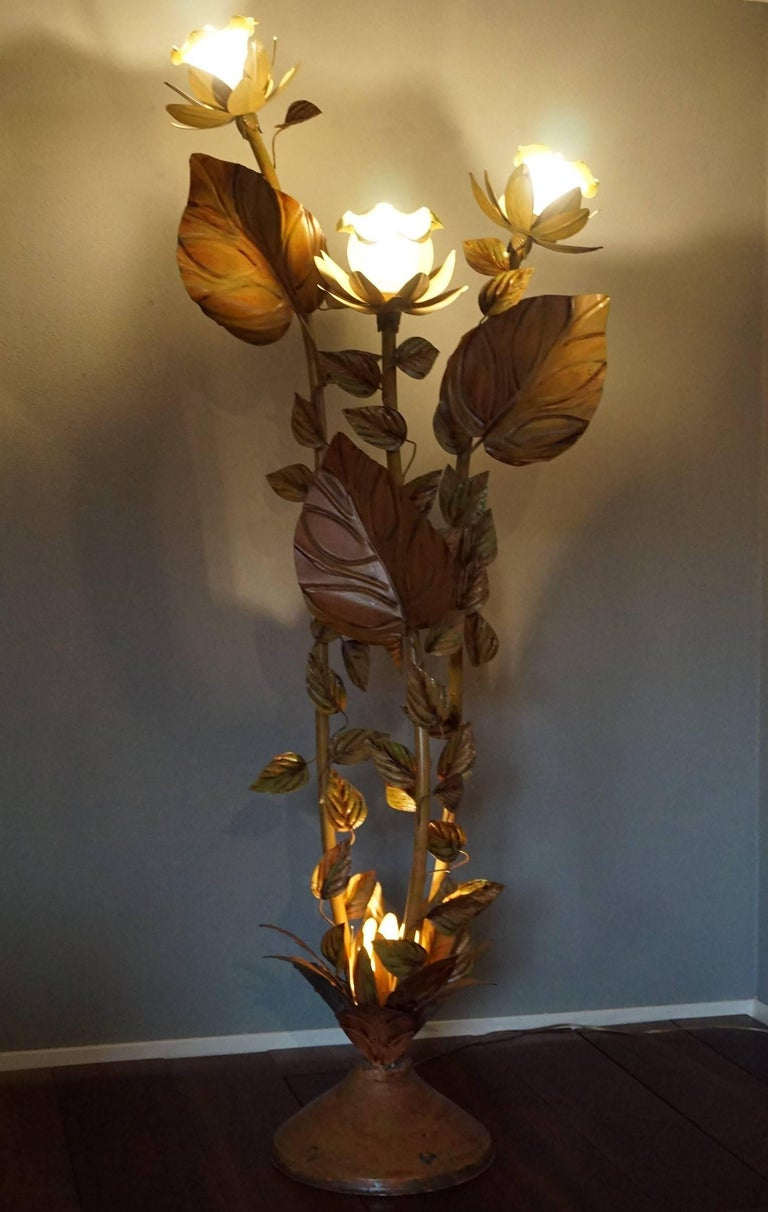 Midcentury Hand Painted Metal Flower Floor Lamp With Glass