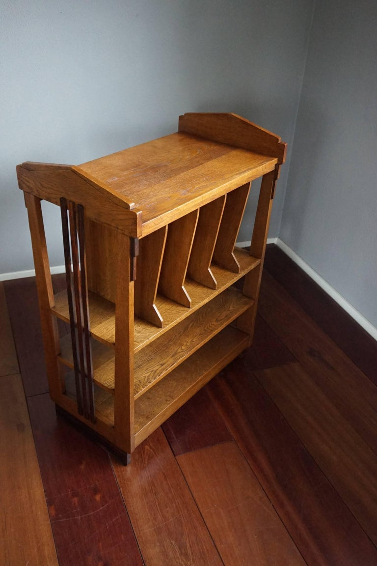 rare and stylish solid oak and macassar art deco amsterdam school magazine stand for sale at 1stdibs. Black Bedroom Furniture Sets. Home Design Ideas