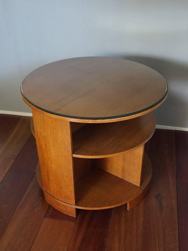 The Hague School Art Deco Books And Coffee Table With Original Cut Glass Top For Sale At 1stdibs