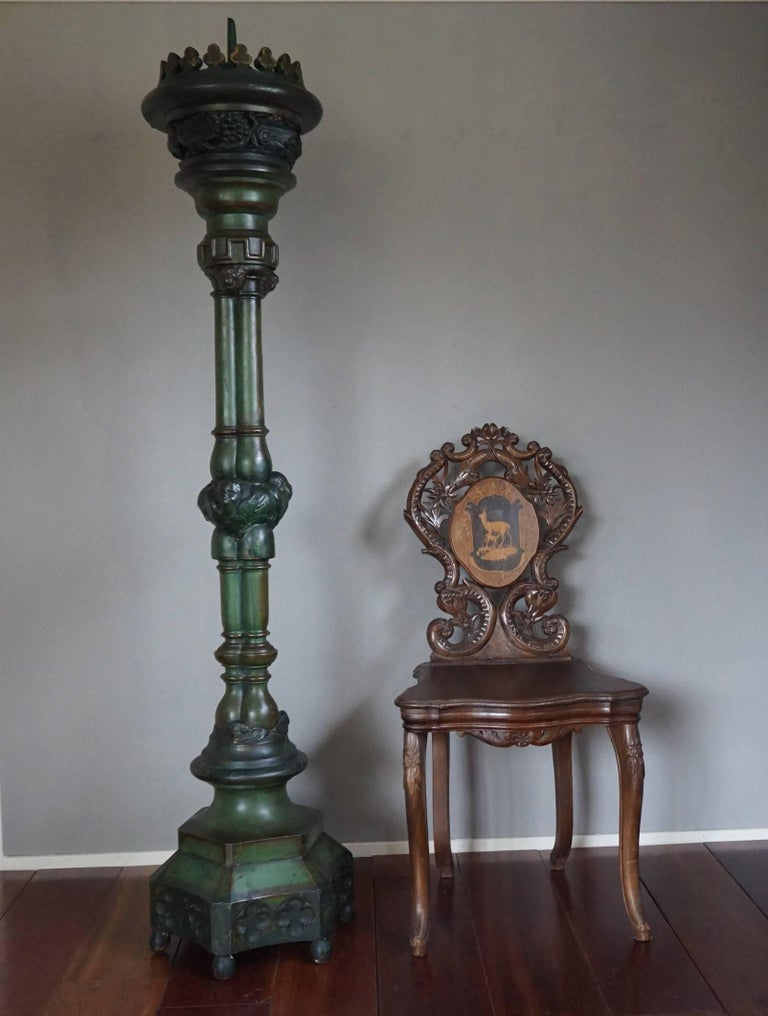 Enormous, early 20th century candleholder.  If you are looking for an impressive and decorative candlestick to decorate an entrance or a corner in your living room then this Gothic Revival rarity could be perfect for you. The size makes it