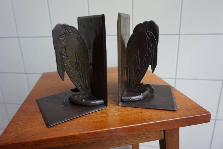 Rare & Handcrafted Arts and Crafts Maraboo Bookends by Hugo Berger Marked  GOBERG