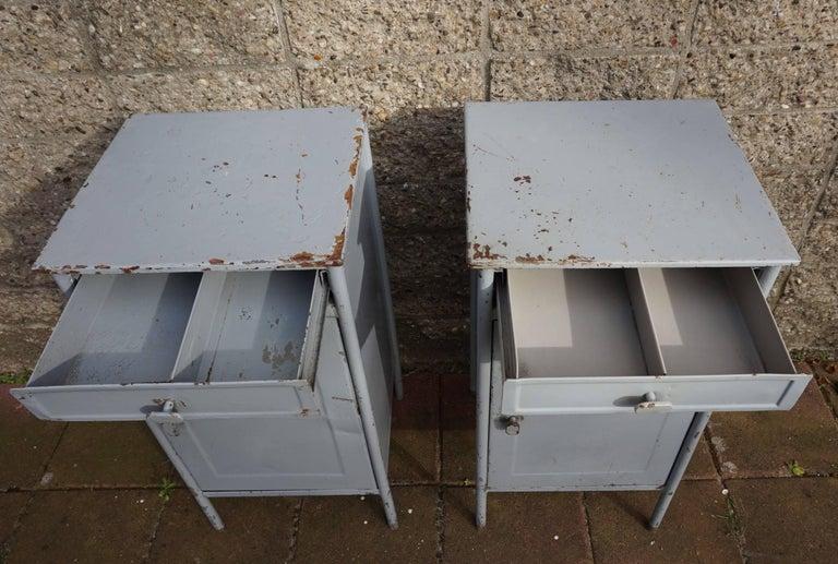 European Post World War II 1940s Pair of Industrial Steel Nightstands Cabinets For Sale