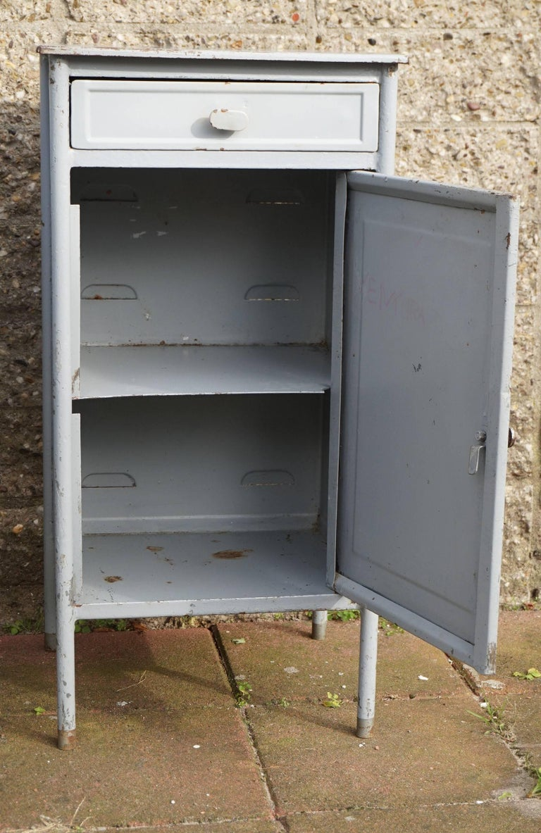 Painted Post World War II 1940s Pair of Industrial Steel Nightstands Cabinets For Sale