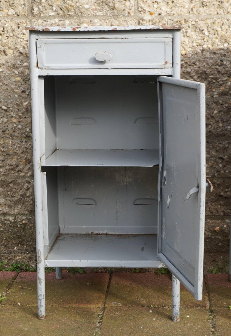 Post world war ii 1940s pair of industrial steel for 1940s kitchen cabinets for sale