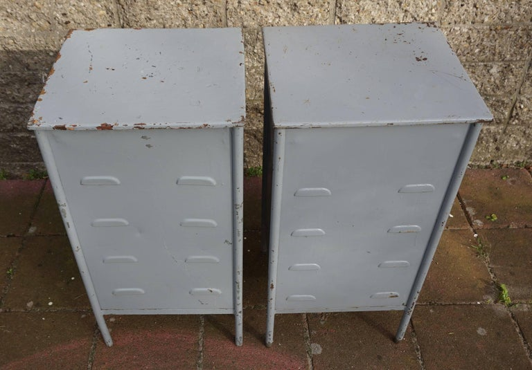Post World War II 1940s Pair of Industrial Steel Nightstands Cabinets For Sale 3