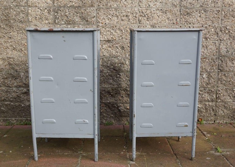 Post World War II 1940s Pair of Industrial Steel Nightstands Cabinets For Sale 4