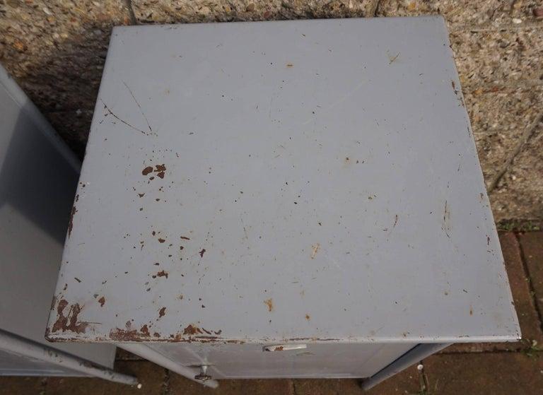 Post World War II 1940s Pair of Industrial Steel Nightstands Cabinets For Sale 2