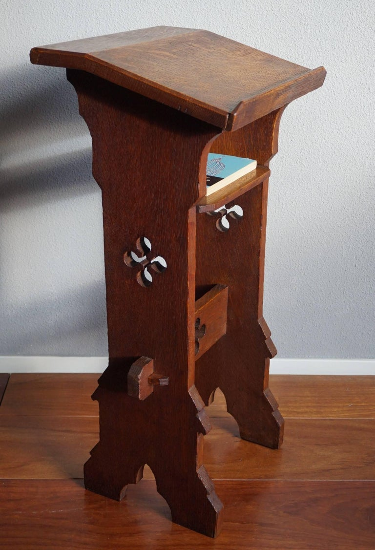 Antique and small size church bible stand. We are not sure if this  handcrafted bible - Oak Gothic Revival Bible Or Book Stand For Children Or For Kneeling