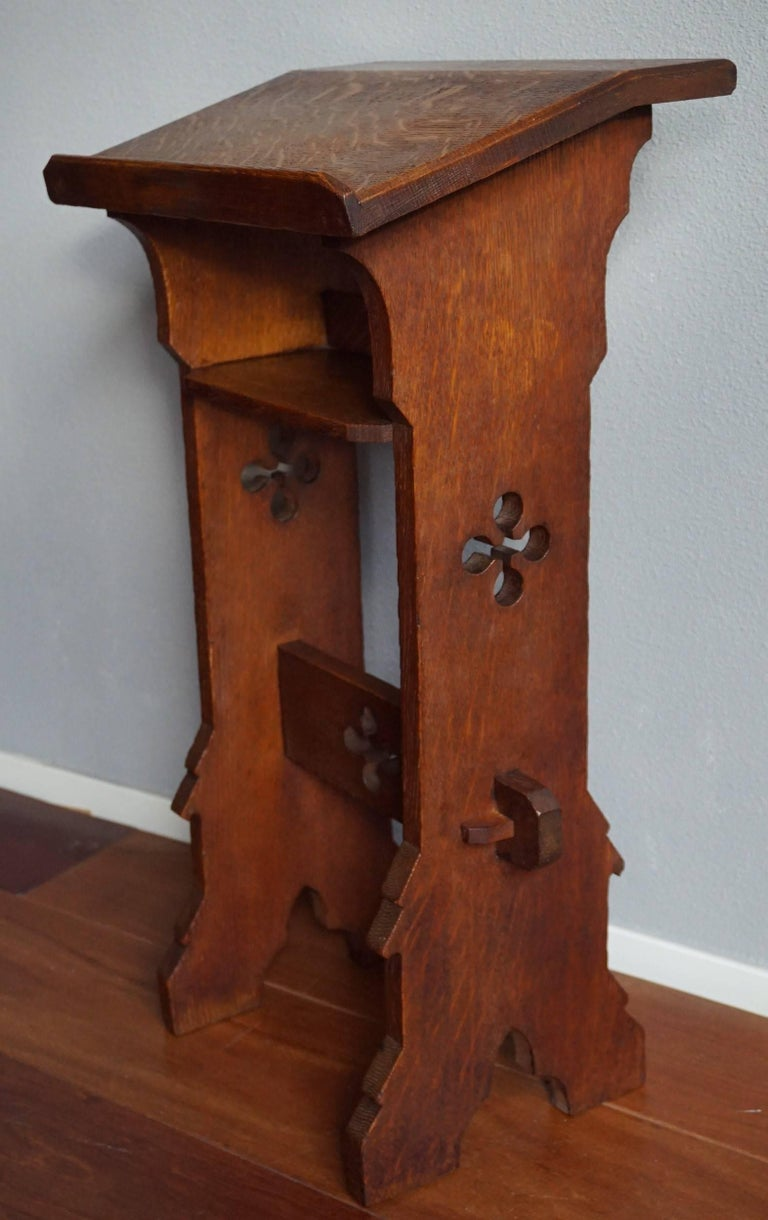 oak gothic revival bible book stand for children or for kneeling