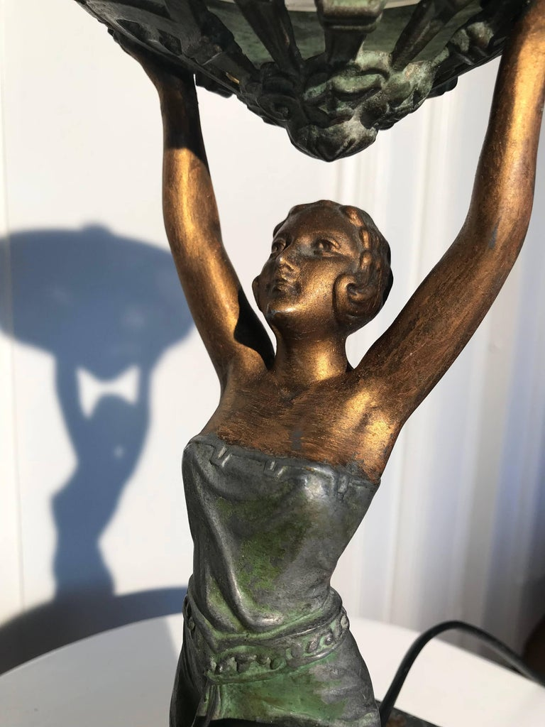 Patinated Art Deco Female Sculpture on a Marble Base Table Lamp Marcel Bouraine Attributed For Sale