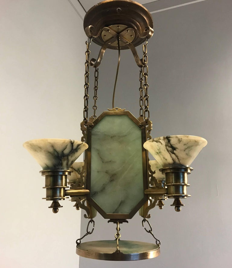 Oriental Style Arts And Crafts Jade Green Alabaster Bronze