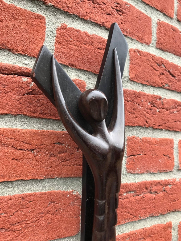 Modernist Abstract Carved Macassar Crucifix, Corpus of Christ Sculpture Cross For Sale 1