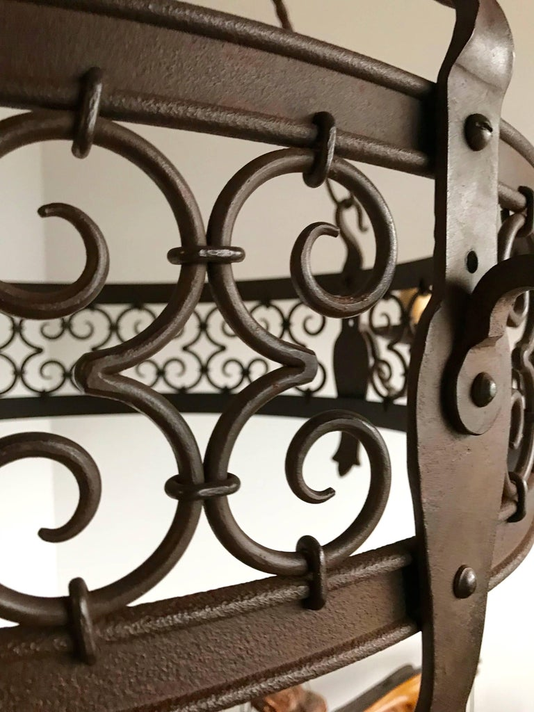 Large Arts & Crafts Forged in Fire Wrought Iron Chandelier Pendant Light Fixture In Good Condition For Sale In Lisse, NL