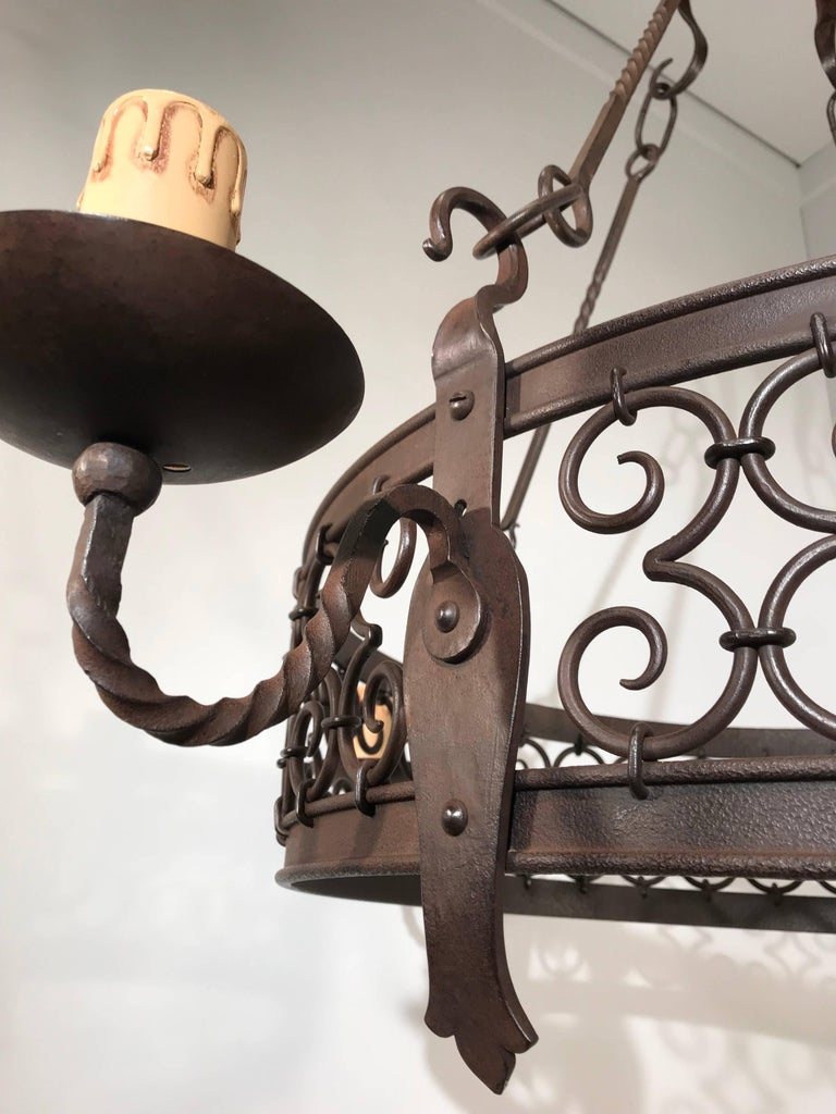 Large Arts & Crafts Forged in Fire Wrought Iron Chandelier Pendant Light Fixture For Sale 3