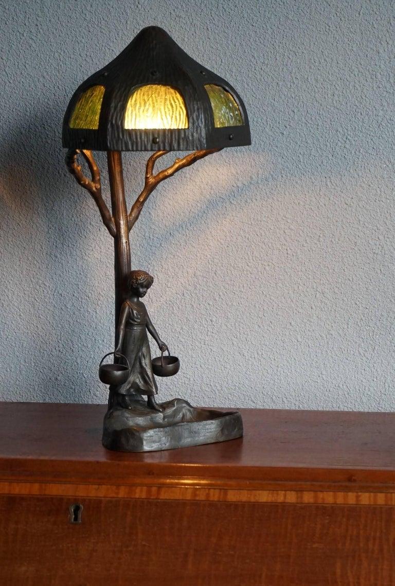 Antique Bronze And Glass Jugendstil Table And Desk Lamp W