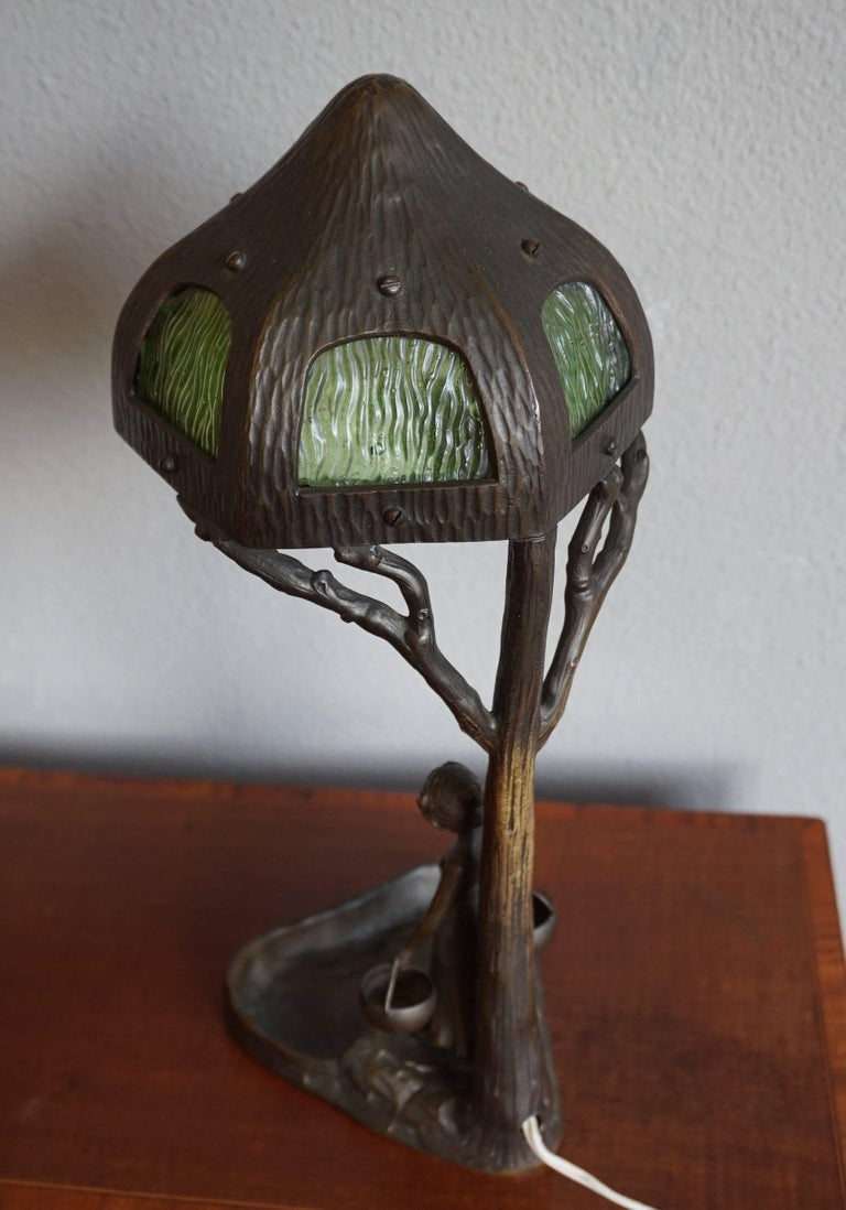 Antique Bronze And Glass Jugendstil Table And Desk Lamp W