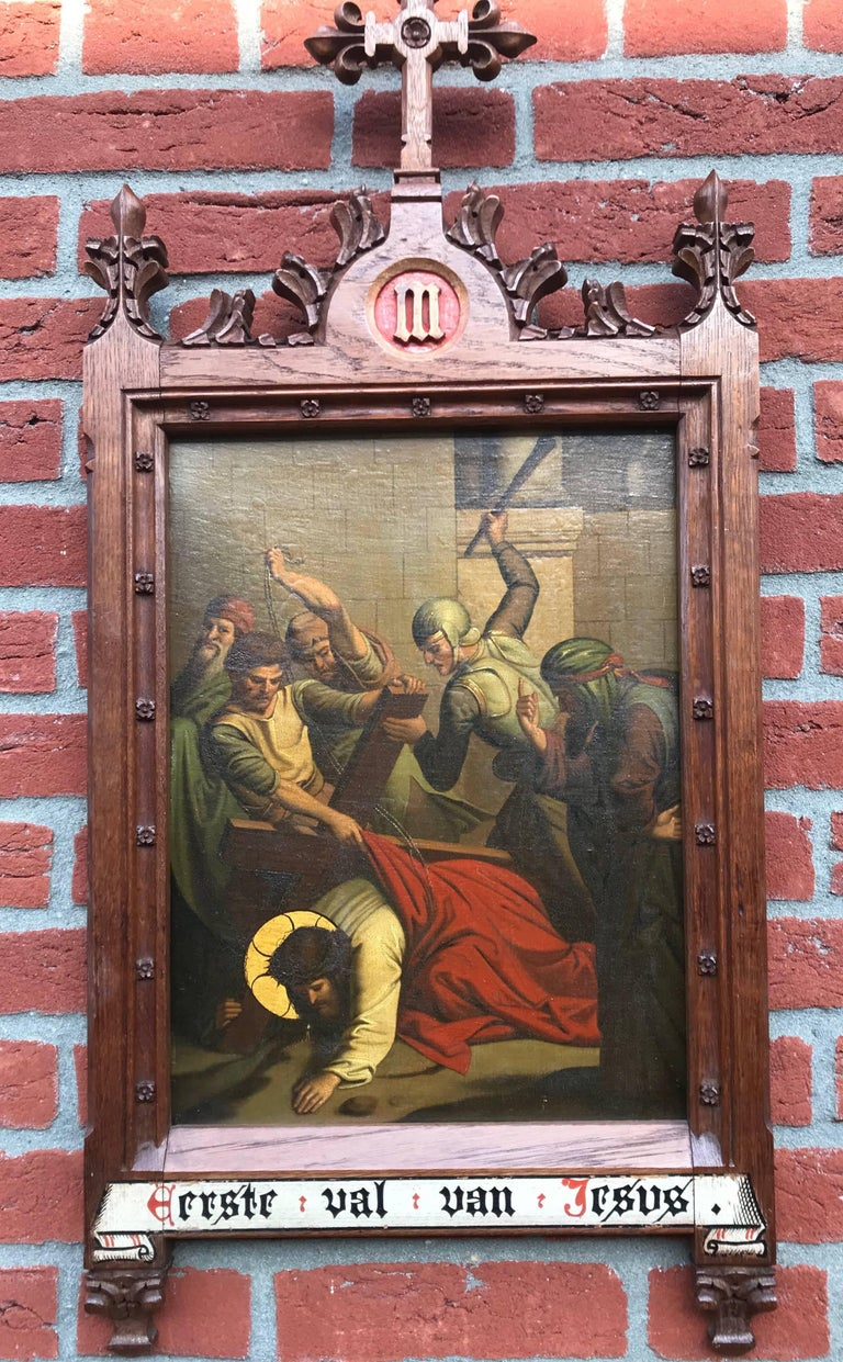 Another stunning religious work of art.  This polychrome painting on metal depicts Jesus as he falls for the first time under the weight of the cross. The vicious soldiers can't wait to give him a beating and make things even more tragic. The