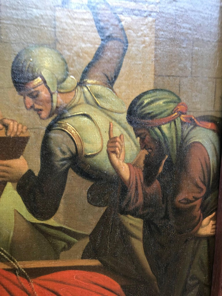 19th Century Gothic Painting Third Station Crucifixion 'Jesus Falls for the First Time' For Sale