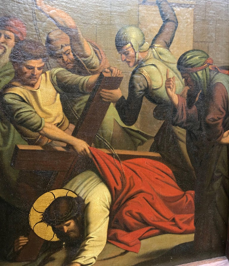 Dutch Gothic Painting Third Station Crucifixion 'Jesus Falls for the First Time' For Sale