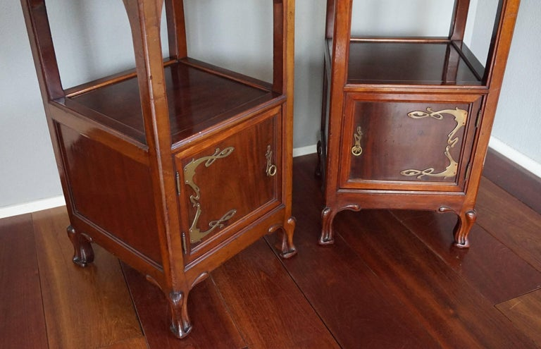 Brass Rare Art Nouveau Mahogany Bedside Cabinets / Nightstands Louis Majorelle Style For Sale