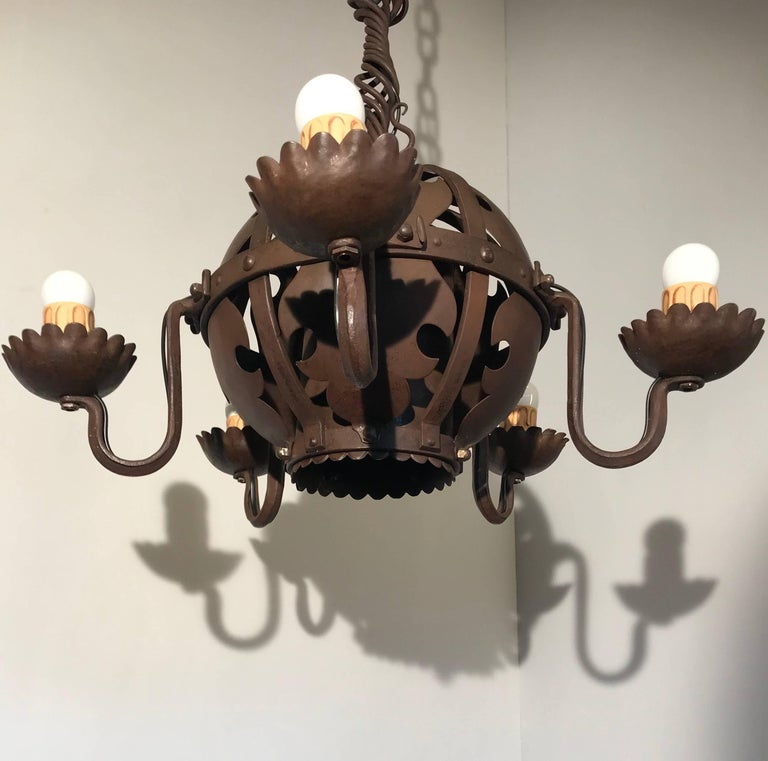 Arts and Crafts Unique & Hand-Forged Arts & Crafts Wrought Iron Pendant Light, circa 1910 For Sale