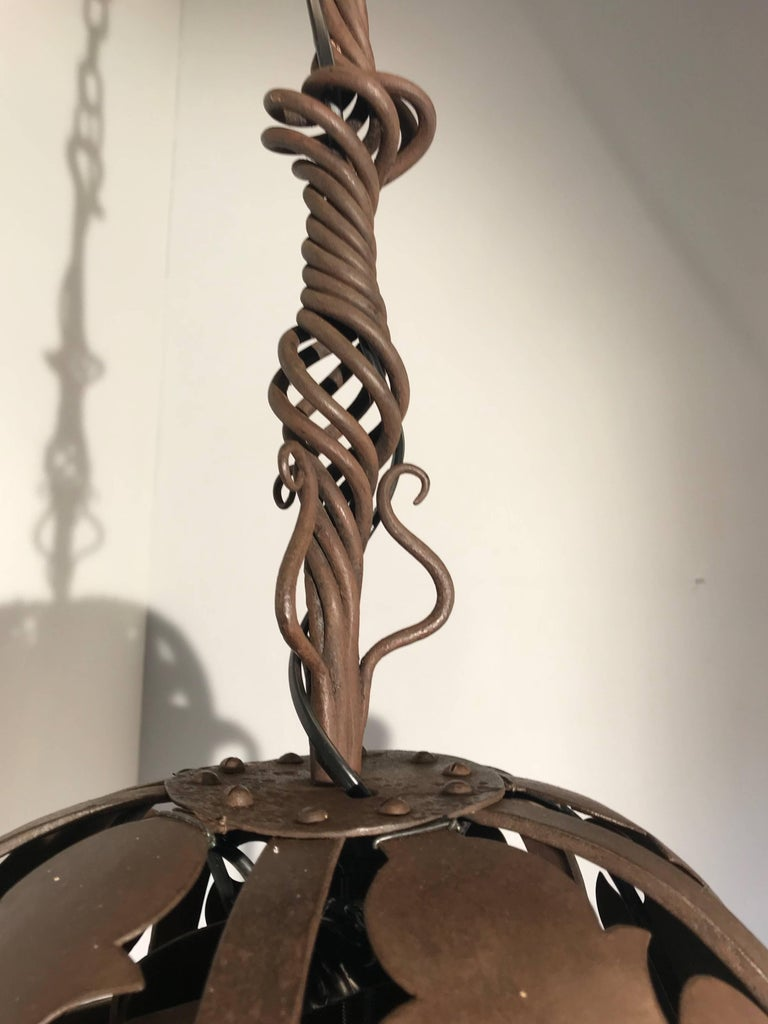 Unique & Hand-Forged Arts & Crafts Wrought Iron Pendant Light, circa 1910 For Sale 2