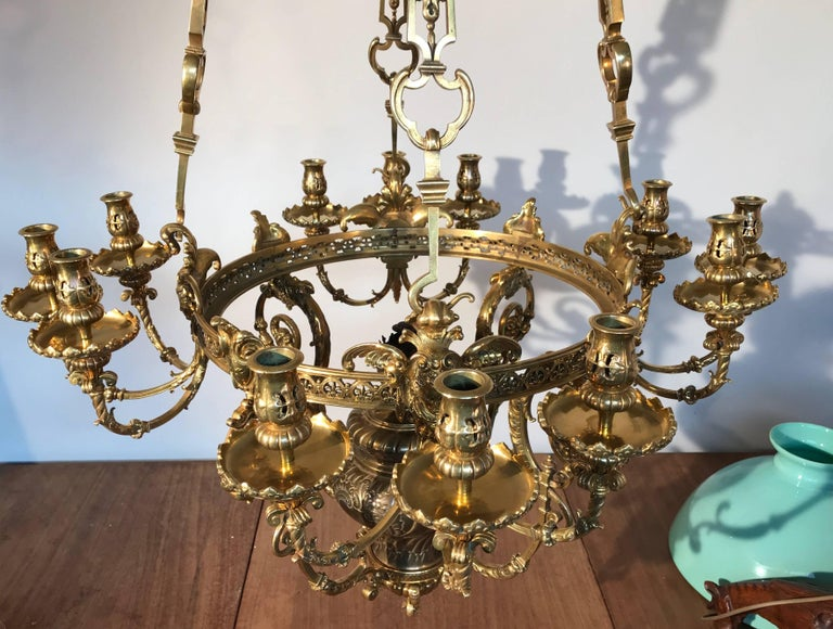 Antique Rare & Large Neo Classical Gilt Bronze Oil Lamp and 12 Candle Chandelier For Sale 1