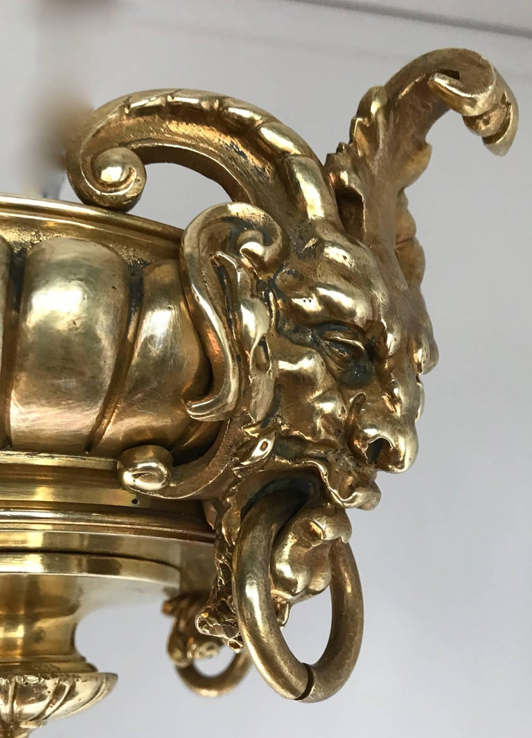 Antique Rare & Large Neo Classical Gilt Bronze Oil Lamp and 12 Candle Chandelier For Sale 2