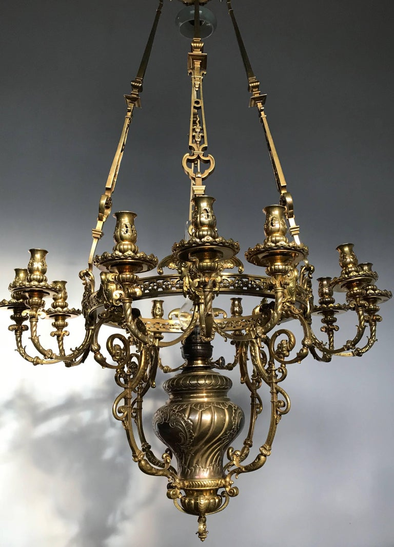 Antique Rare & Large Neo Classical Gilt Bronze Oil Lamp and 12 Candle Chandelier For Sale 3