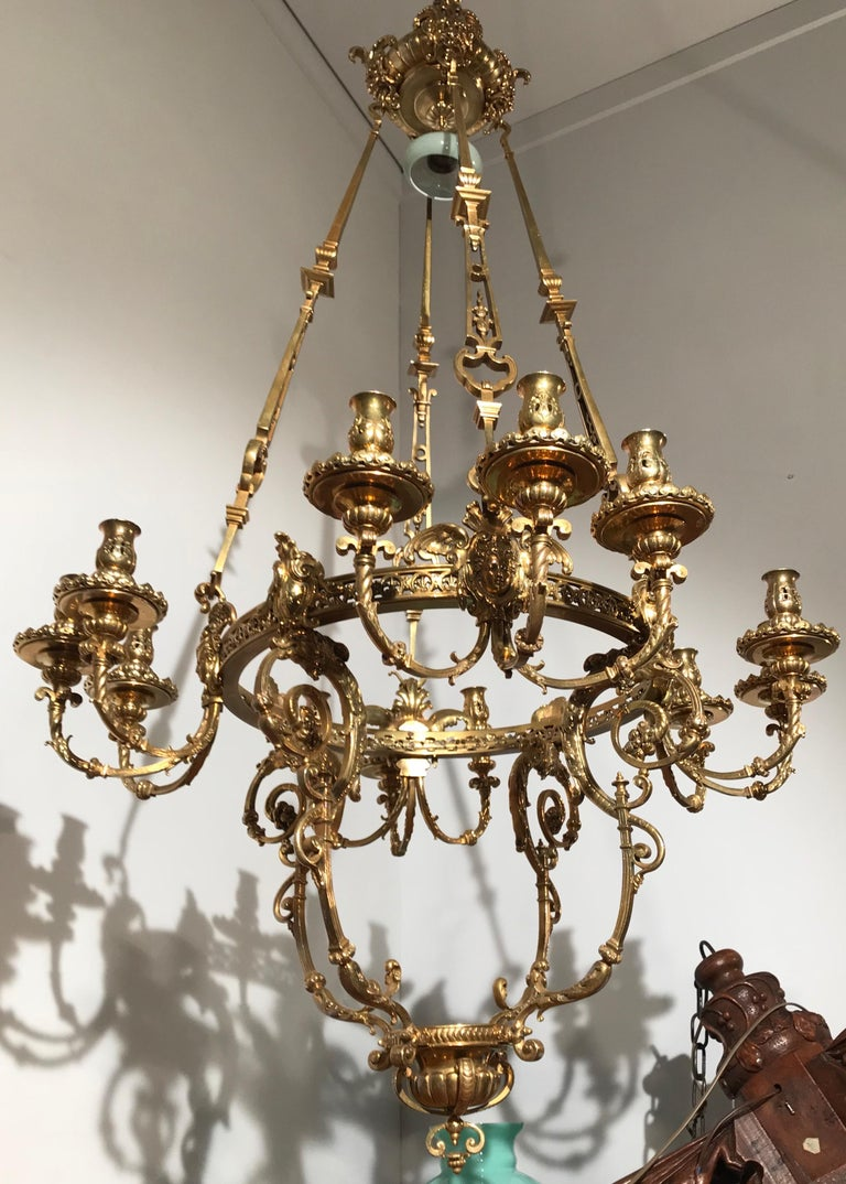 Antique Rare & Large Neo Classical Gilt Bronze Oil Lamp and 12 Candle Chandelier For Sale 9