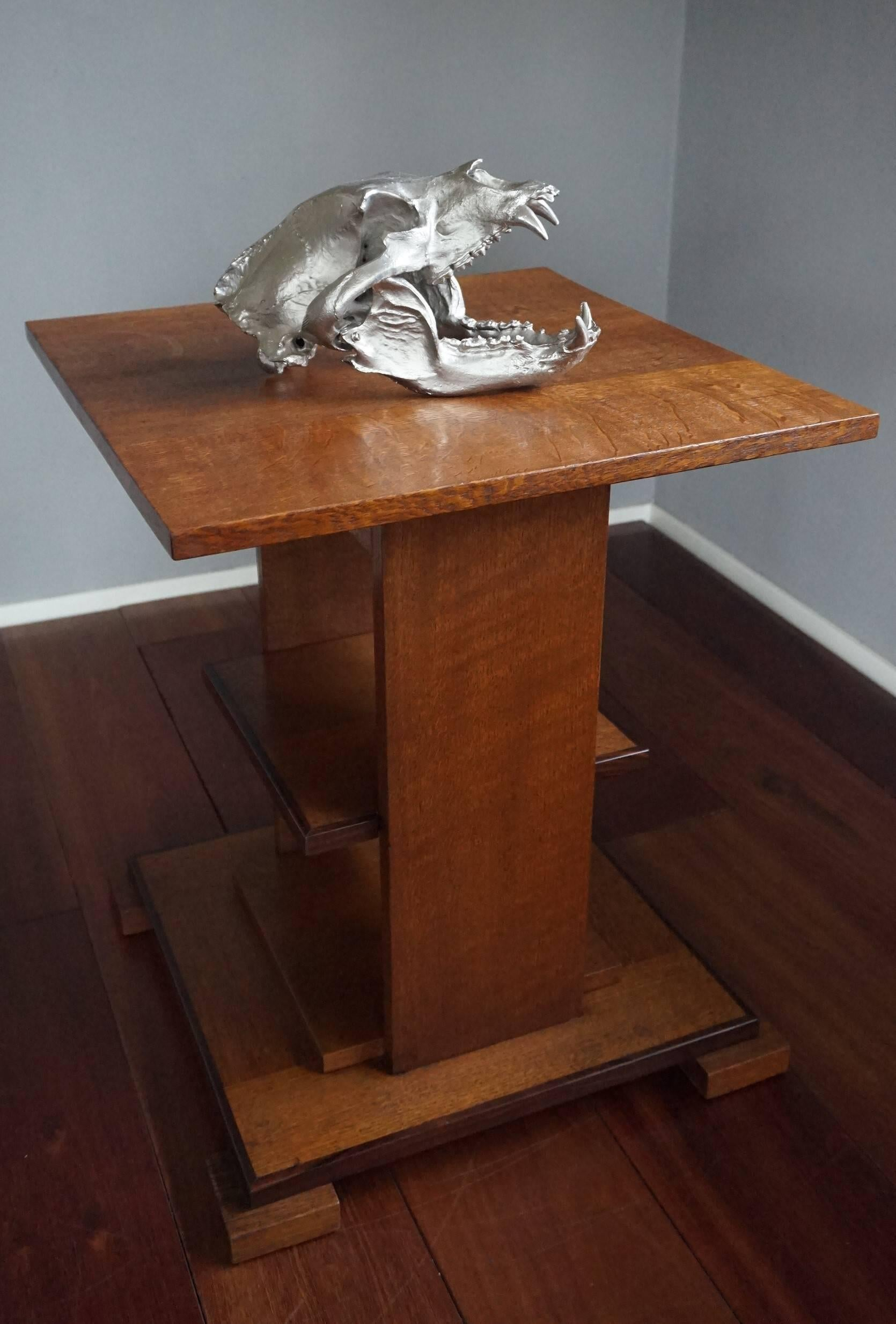 High Quality Impressive And Decorative, Chrome Painted Modern Bronze Bear Skull  Sculpture For Sale 4 Design Inspirations