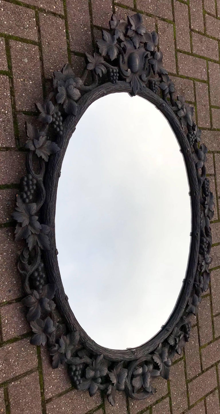 Large Antique Black Forest Oval Mirror In Carved Nutwood Picture