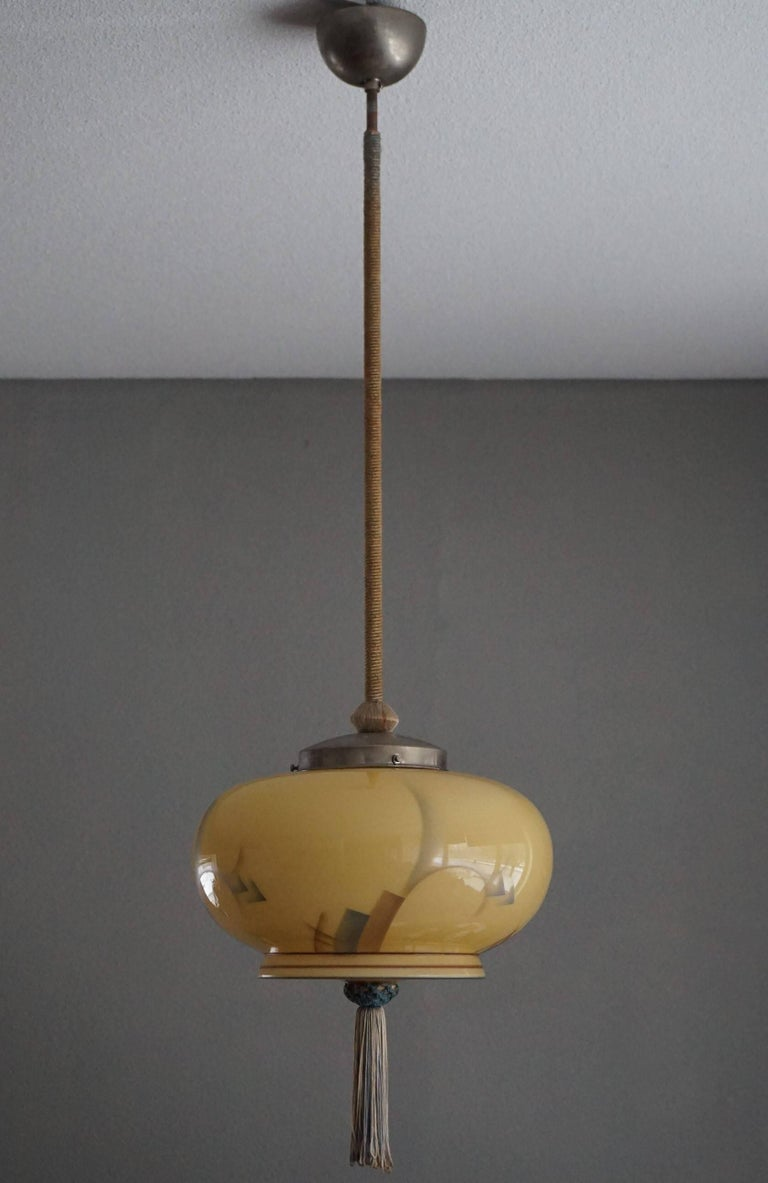 Art Deco Asian American Style Glass Pendant Lantern With