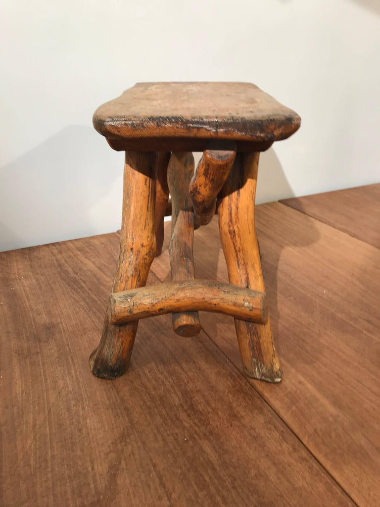 Antique Hand Crafted Rustic And Organic Oak Stool For
