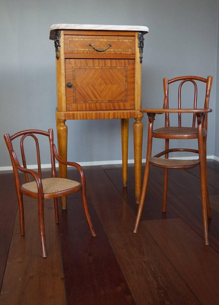 Rare and great condition Thonet doll chairs.  For the collectors of the rarest of Thonet pieces we are proud to offer this finest pair of early 20th century doll chairs. In the Thonet catalogue of 1904 these chairs are mentioned as 'Fauteuil 2' and