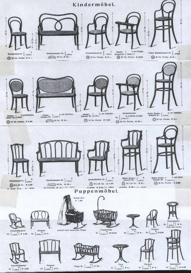 Antique Thonet Bentwood Puppenmobel Doll Chairs / Doll Furniture For Sale 3
