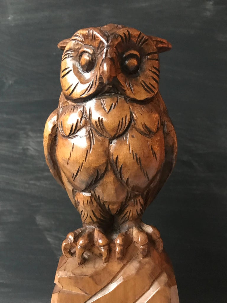 Art Deco Carved Wooden Owl Sculpture Symbol of Wisdom and Learning with Signature For Sale