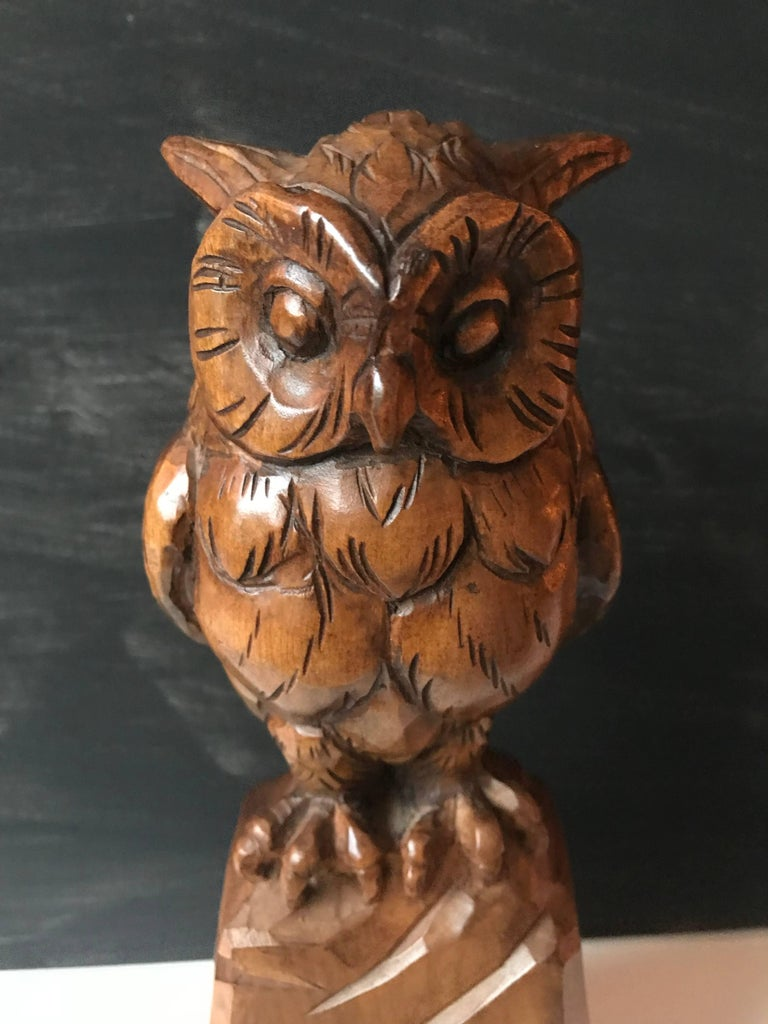 European Carved Wooden Owl Sculpture Symbol of Wisdom and Learning with Signature For Sale