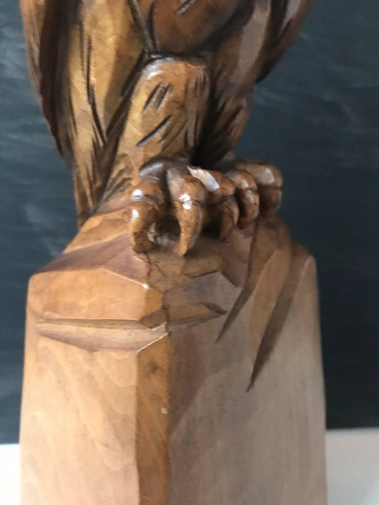 Hand-Carved Carved Wooden Owl Sculpture Symbol of Wisdom and Learning with Signature For Sale