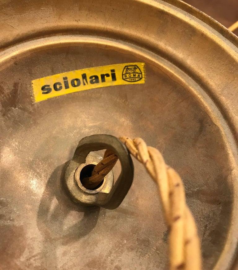 Vintage Sciolari, Roma Italy, Brass Pendant Light, Hollywood Regency Style For Sale 4