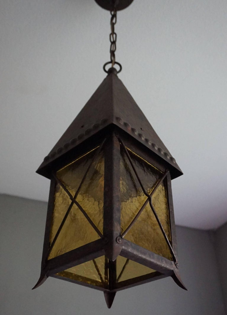 Dutch Early 1900s Arts and Crafts Wrought Iron and Cathedral Glass Lantern For Sale
