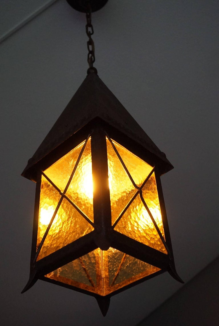 Hand-Crafted Early 1900s Arts and Crafts Wrought Iron and Cathedral Glass Lantern For Sale