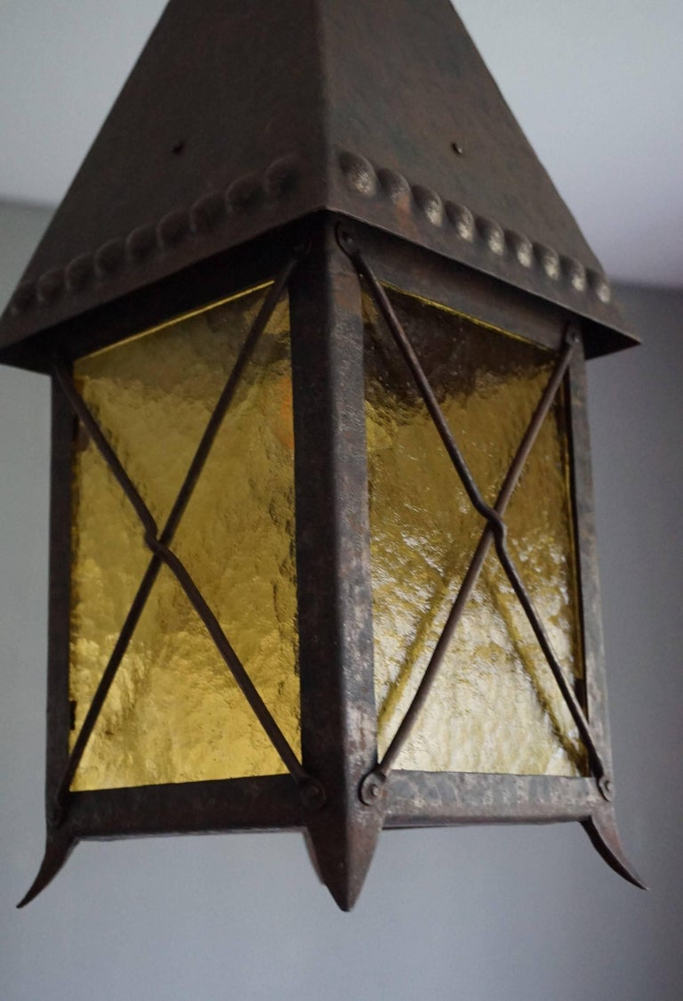Early 1900s Arts and Crafts Wrought Iron and Cathedral Glass Lantern In Excellent Condition For Sale In Lisse, NL