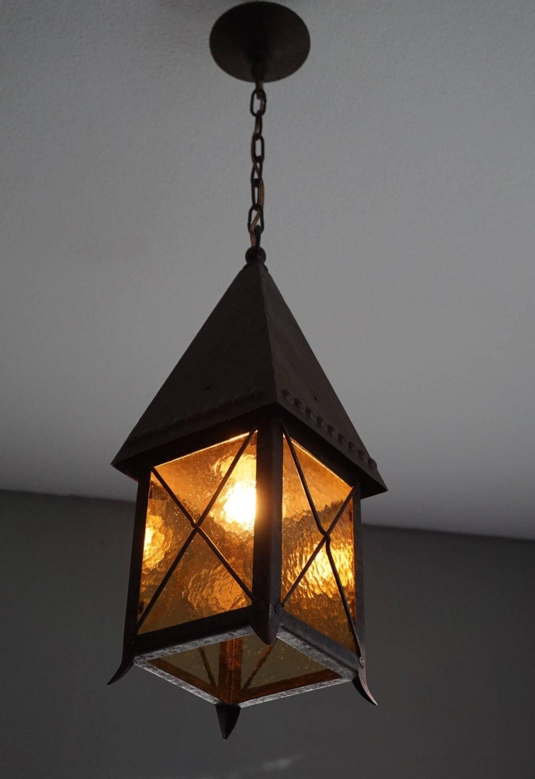 Early 1900s Arts and Crafts Wrought Iron and Cathedral Glass Lantern For Sale 2