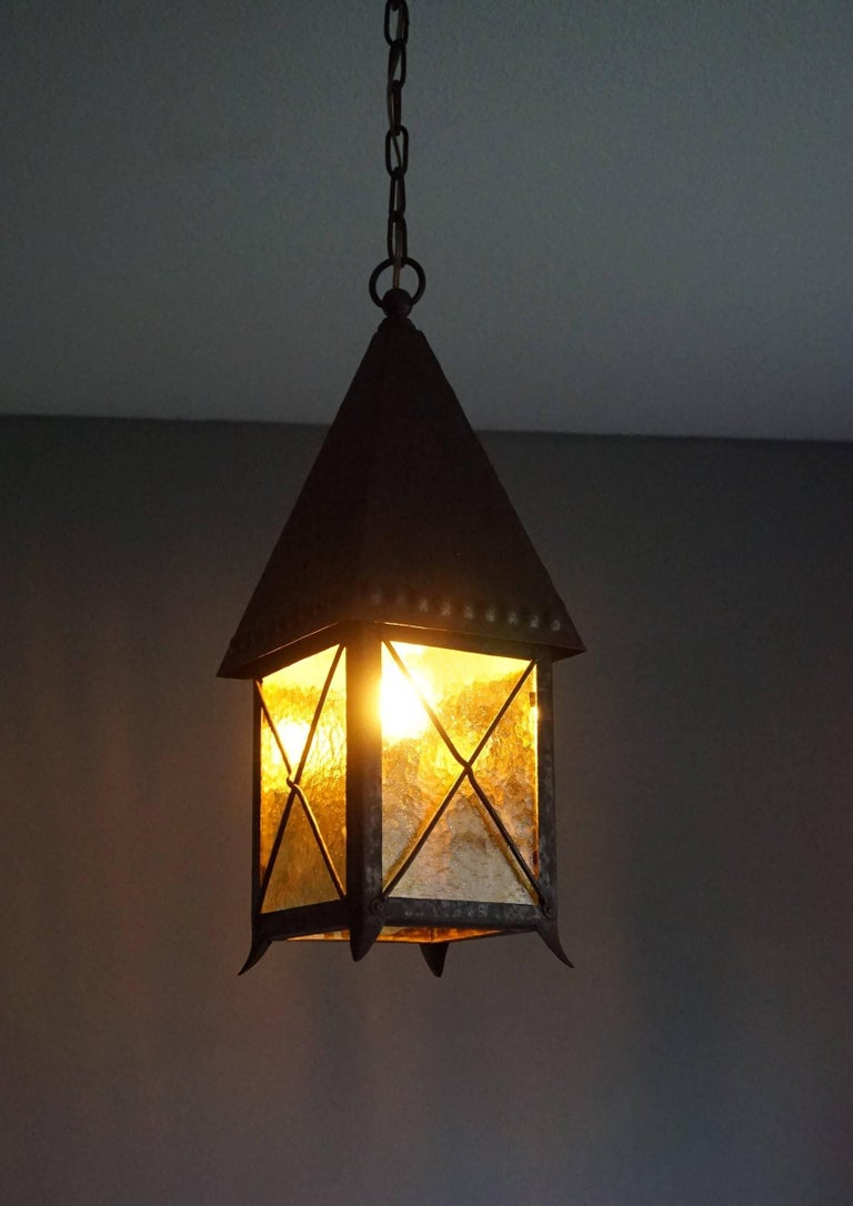 Early 1900s Arts and Crafts Wrought Iron and Cathedral Glass Lantern For Sale 4