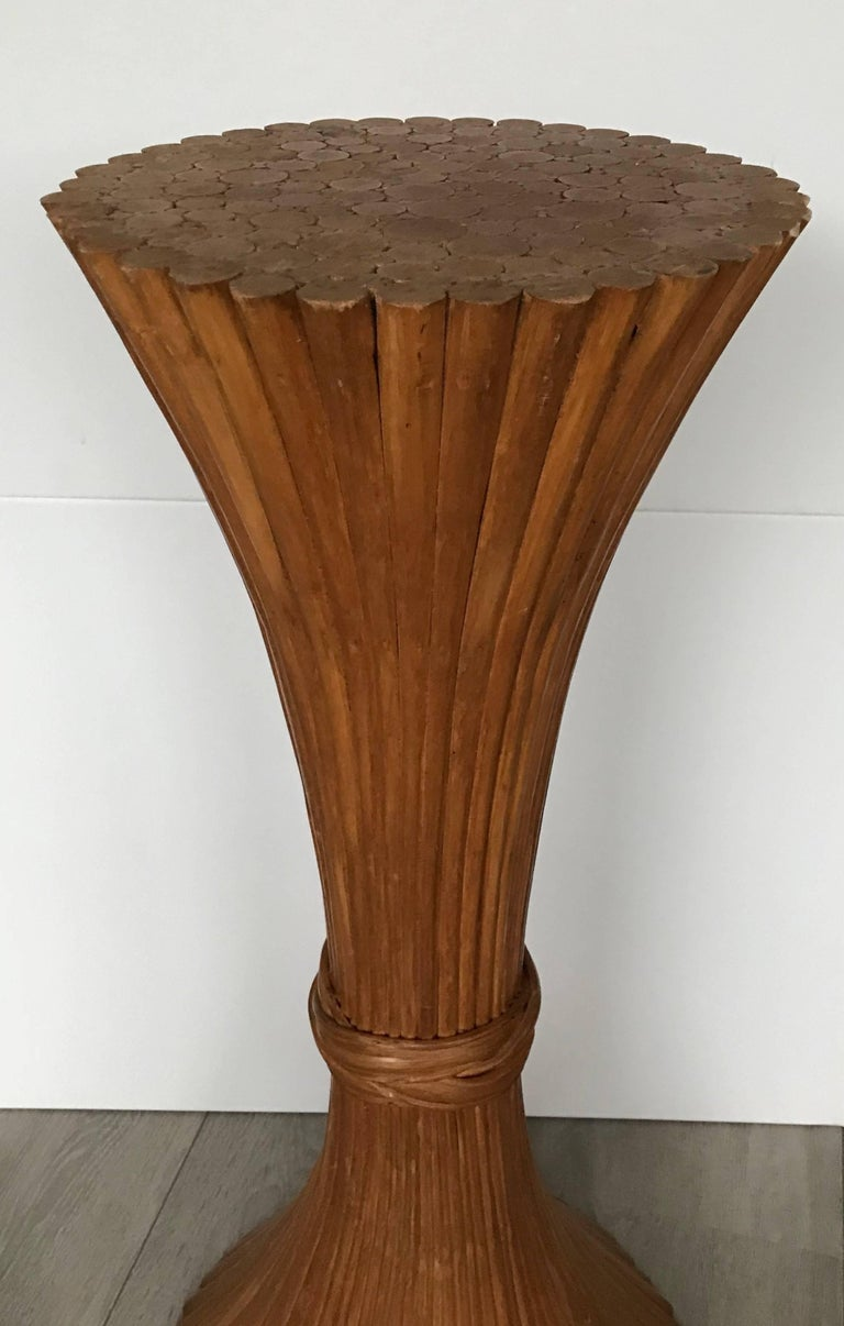 Rare Vintage Original Mcguire Sheaf Of Wheat Rattan Wood