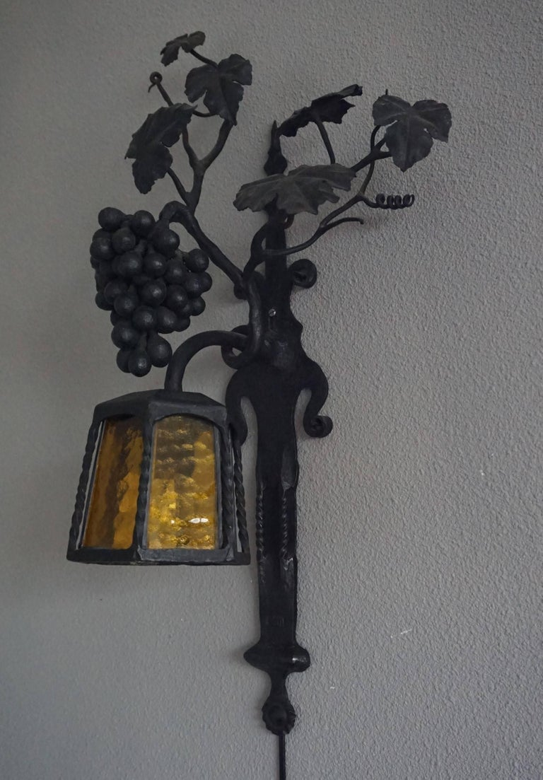 Arts And Crafts Wrought Iron Bunch Of Grapes Wall Sconce
