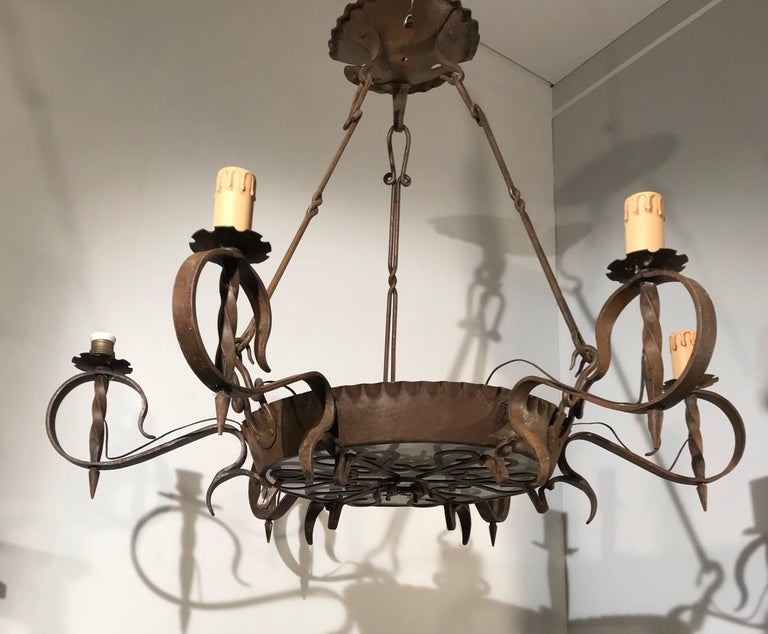 Hand-Crafted Antique Large Arts & Crafts Wrought Iron Medieval and Castle Look Chandelier For Sale